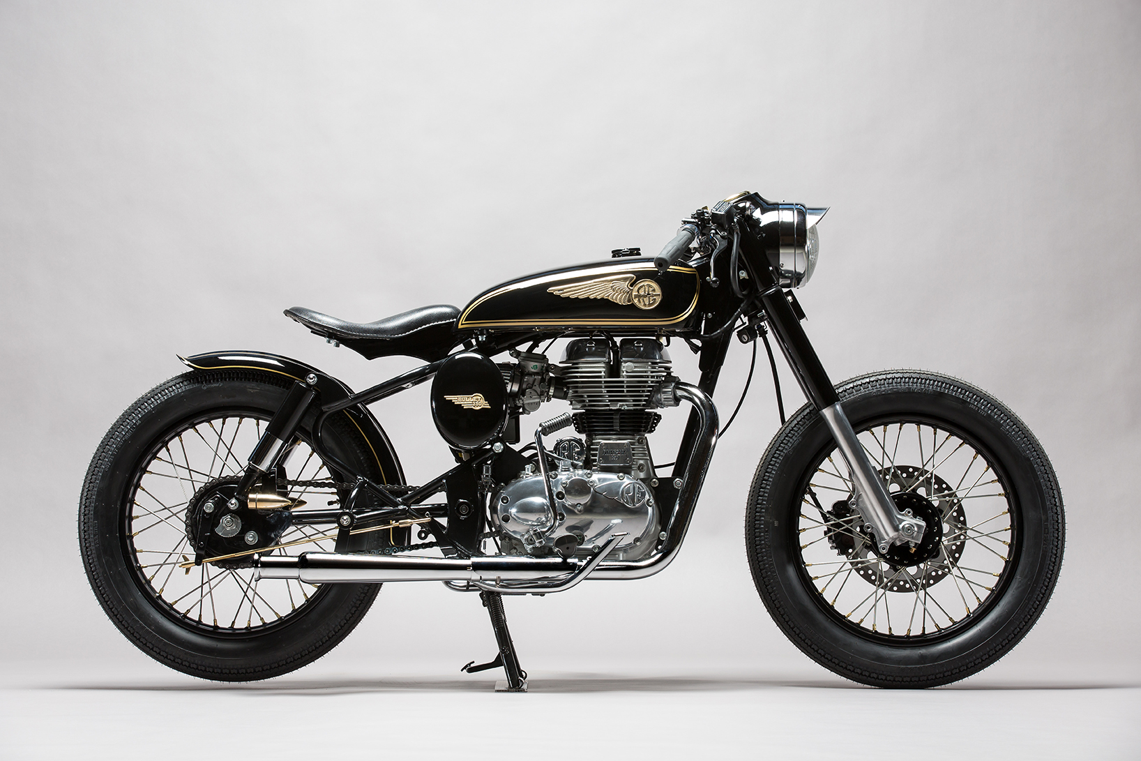 Custom Royal Enfield motorcycles - built as bobbers or cafe racers